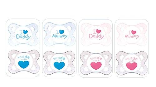 """MAM Sucette Décor """"Cœur"""" - de 0 à 6 mois - Silicone - Lot de 2 sucettes en boîte de stérilisation - coloris aléatoire"""