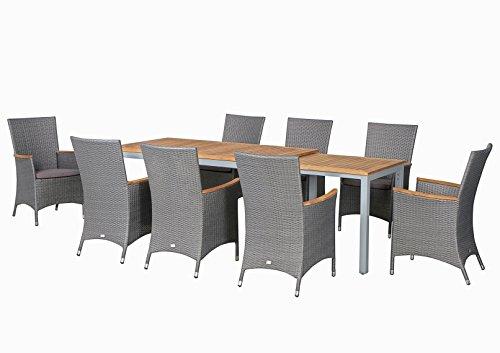 17-teilige XXL Luxus Aluminium Teak Polyrattan Geflecht Gartenmöbelgruppe 'Hermosa' , 8 Diningsessel, 8 Auflage und ein Ausziehtisch Tifosi 160/280x90, silber - titan