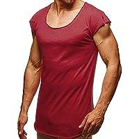 VJGOAL Hombre Verano Moda Casual Color sólido O-Cuello Flojo Manga Corta Top cómodo Delgado Camiseta de los Hombres