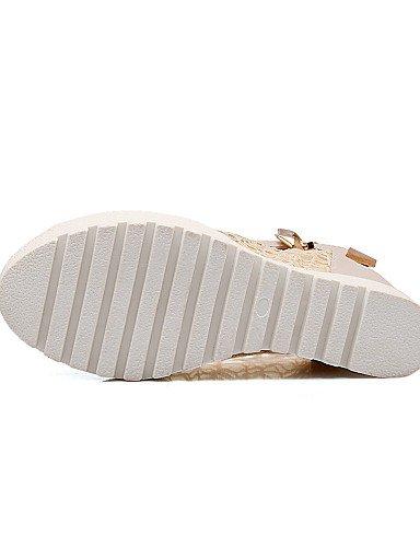 UWSZZ IL Sandali eleganti comfort Scarpe Donna-Sandali-Casual-Zeppe / Spuntate-Zeppa-Tulle / Finta pelle-Nero / Bianco / Beige Black