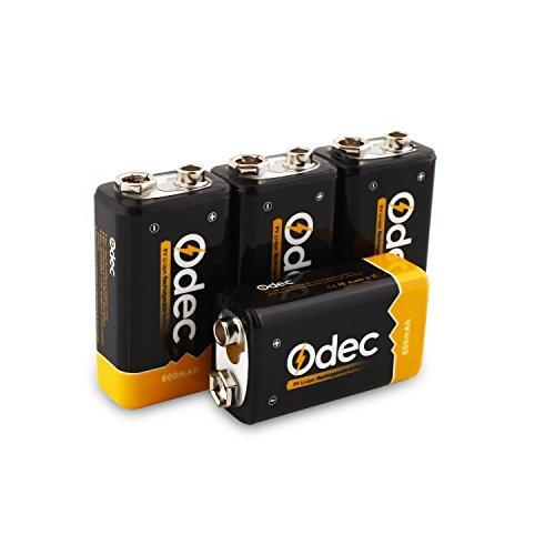 Odec Pilas Recargables Li-ion 9V 600mAh, Rendimiento más Alto de Batería, Paquete de 4