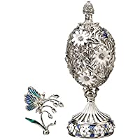 Russische Fabergé Stil Geschnitzt Ei Mit Blumen U0026 Schmetterling Silber  Farbe ...
