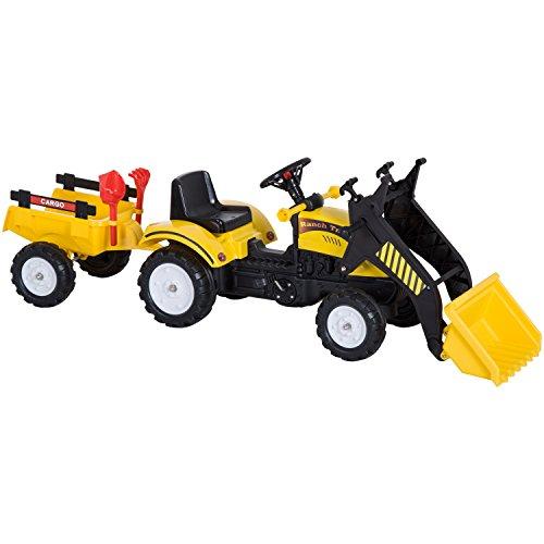 HOMCOM Tretauto Traktor Trettraktor mit Fontlader und Anhänger ab 3 Jahre Kinder 167 x 41 x 52cm - Baby-pedal-traktor