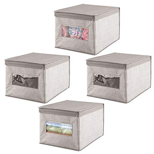 mDesign scatola per armadio in stoffa – portaoggetti universale – scatolone ottimo pe il cambio stagione – con coperchio protettivo - grigio - Set da 4