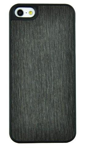 SunSmart Coque en bois et cuir pour Apple iPhone 5/5S/5C avec pied de maintien vertical Marron foncé bords noirs