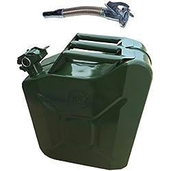 D2B Neuf Jerrican en métal Vert 20Litre Militaire Inoxydable avec Bec Flexy