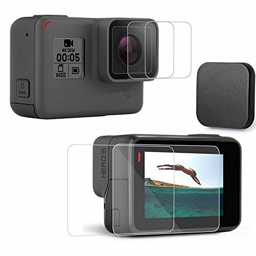 Gopro Protector 4 Screen (kimilar 4 PCS GoPro Hero 5 schutzfolie mit Objektivdeckel, wasserdicht, LCD-Bildschirm und Objektiv aus gehärtetem Glas für GoPro Hero 5 schwarz Kamera, 2.5D Ultra klarem kratzfestem Film)