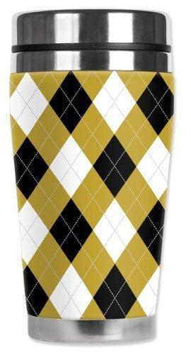 Mugzie Argyle Travel Mug with Insulated Wetsuit Cover, 16 oz, Multicolor by Mugzie