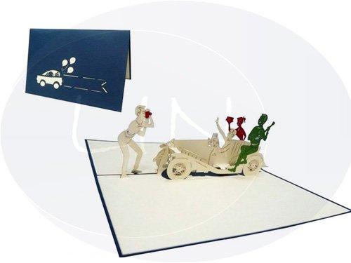 POP UP 3D Grußkarte Glückwunsch Auto & Party, blau (#131)