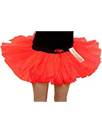 14 Inch Long 3 Layer Full Neon Orange Tutu Skirt - size 10 to 16