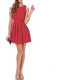 JNTworld Lässig Damen Spitze ärmelloses Rote mit Gürtel Faltenröcke Skater Kleid
