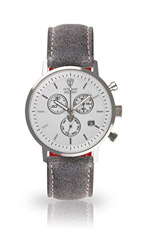 DETOMASO Milano Mens Watch Chronograph Analog Quartz Grey Leather Strap White dial DT1052-B-803