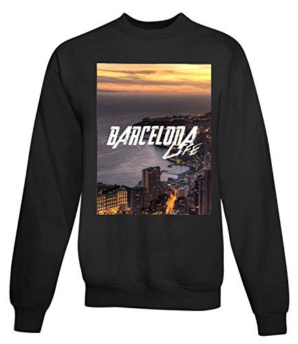 Billion Group | Spain Barcelona Life | City Collection | Women's Unisex Sweatshirt Noir