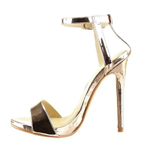 Angkorly Damen Schuhe Sandalen Pumpe - Stiletto - Sexy - Schick - String Tanga - Glänzende Stiletto High Heel 12.5 cm Champagner