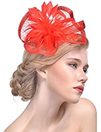 dressfan Mujeres Elegantes Fascinator Sombrero Irregular de la venda de la  pluma de Lino Accesorios Banquete 2623ad8162f