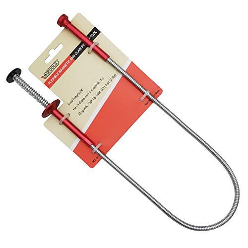 VASTOOLS Flexibler Krallengreifer mit Magnetstab /71cm, 2-in-1 Biegsam Magnetheber, 4-Finger Greifer, Rostfreier Flexibler und Steif Schaft