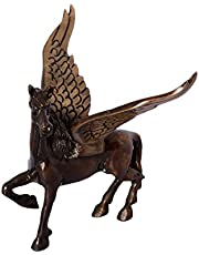 eCraftIndia Antique Finish Brass Flying Angel Horse