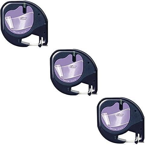 3x Compatible Dymo LetraTag 12267 Noir sur Clair (12mm x 4m) Rubans Étiquettes Plastique pour Etiqueteuse Dymo LetraTag LT-100H, LT-100T, LT-110T, QX 50, XR, XM, 2000, Plus