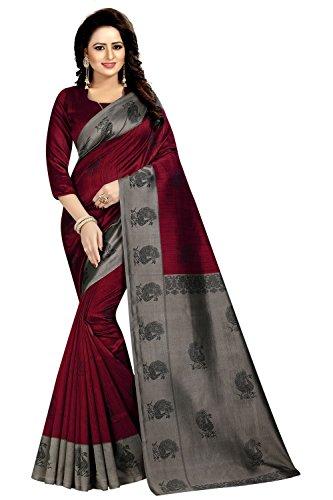 Calendar Women's Art Silk Maroon color Printed Saree With Unstitch Blouse Piece