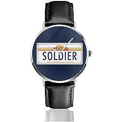 Unisex Business Casual Final Fantasy Midgar Soldat Nummernschild Uhren Quarz Leder Uhr