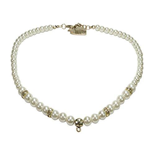 Alpenflüstern Perlen-Trachtenkette antik-gold-farben für Anhänger - Damen-Trachtenschmuck, elegante leere Dirndlkette creme-weiß DHK182