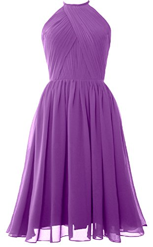 MACLoth Women Halter Chiffon Cocktail Dress Short Bridesmaid Gown with Open Back Amethyst