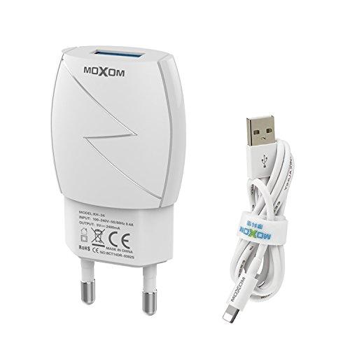 MOXOM 12W 5V / 2.4A USB Ladegerät Mini 1 Port Handy Wand Ladeadapter Universal USB Stecker mit USB Ladekabel für Smartphone iPhone, iPad, Tablet und mehr (Weiß-2)