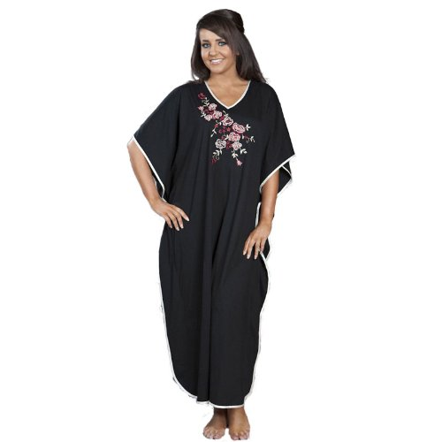 Womens Long Black Blue Burgundy Embroidered Stretch Kaftan One size up to UK 30 BLACK
