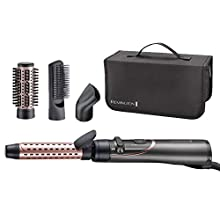 Remington Curl and Straight Confidence Rotating Hot Air Styler - Versatile Curling Iron, Soft Hair Dryer Brush, Paddle Hairbrush - AS8606