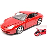 BURAGO BU12037R PORSCHE 911 CARRERA 4 2006 RED 1:18 MODELLINO DIE CAST MODEL