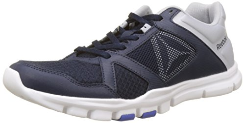 Reebok Yourflex Train 10 MT, Zapatillas de Deporte Para Hombre, Azul (Collegiate Navy/Cloud Grey/Acid Blue/White 0), 40 EU