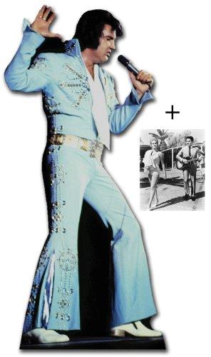 *FANBÜNDEL* - ELVIS PRESLEY SINGING WEARING BLUE JUMPSUIT - LEBENSGROSSE PAPPFIGUREN / STEHPLATZINHABER / AUFSTELLER - ENTHÄLT 8x10