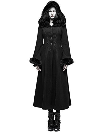 Punk Rave Mujer Abrigo Con Capucha Largo Chaqueta Negra Gótico Lolita Steampunk invierno Vintage - Negro, M - UK Womens Size 10