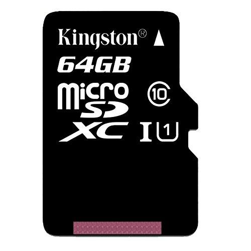 Kingston SDC10G2/64GB microSD Klasse 10 bis zu 45MB/s Speicherkarte [mit SD-Adapter]