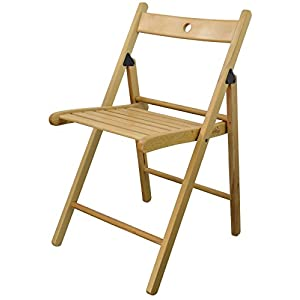 Harbour Housewares Wooden Folding Chair – Natural Wood Colour