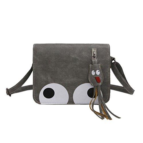 Kangrunmy borse patrizia pepe tracolla,donna ciondolo in pelle crossbody bag borsa portamonete borsa telefono (grigio)