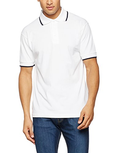 James & Nicholson Herren Poloshirt Polo Tipping Weiß (White/Navy)
