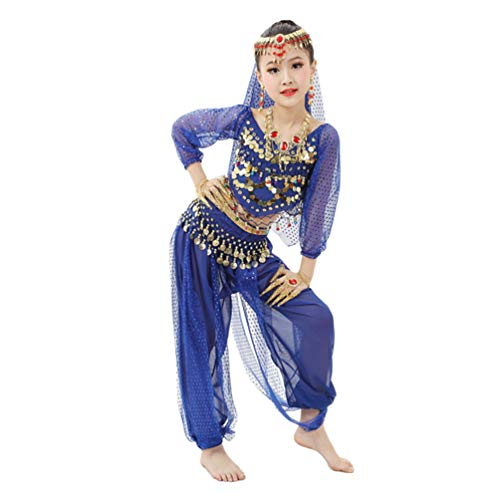 Lvguang Mädchen Bauchtanz Set Dance Langarm Top & Mädchen Tanzhosen & Taillenkette & Kopf Kette & Schleier & Perlen Armband & Halskette & Ohrring (Blau, Asia M)