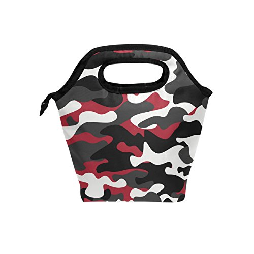 hunihuni Camo Muster Isolierte Thermo Lunch Kühltasche Tote Bento Box Handtasche Lunchbox mit Reißverschluss für Schule Büro Picknick - Camo Reißverschluss Tote
