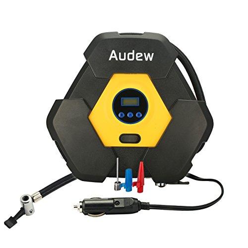 AUDEW 12V Digitaler-Luftkompressor Auto Luftpumpe tragebar mit 3M Stromleitung Fuer Motorrad Auto Fahrrad