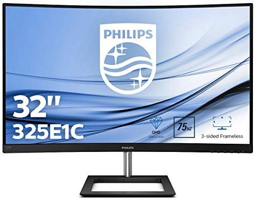 Philips 325E1C 80 cm (31.5 Zoll) Curved Gaming Monitor (HDMI, DisplayPort, 2560x1440, 75Hz, 4 ms Reaktionszeit, FreeSync) schwarz