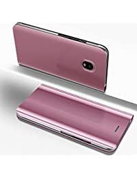 Samsung Galaxy J3 2017 Mirror Case,Leather Cover for Samsung Galaxy J3 2017 European Version,EUWLY Ultra Slim Clear View Mirror Leather Flip Stand Case Cover Shockproof Magnetic Bookstyle Strap Wallet Case Cover with Card Holder for Samsung Galaxy J3 2017 + 1 x Blue Stylus Pen,Rose Gold