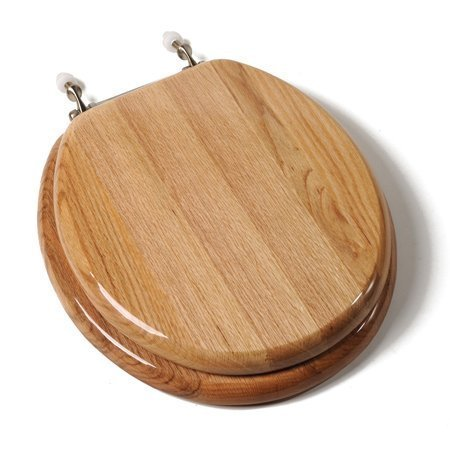 Comfort Seats C1B1R17BN Designer Solid Wood Toilet Seat with Brushed Nickel Hinges, Round, Oak by Comfort Seats