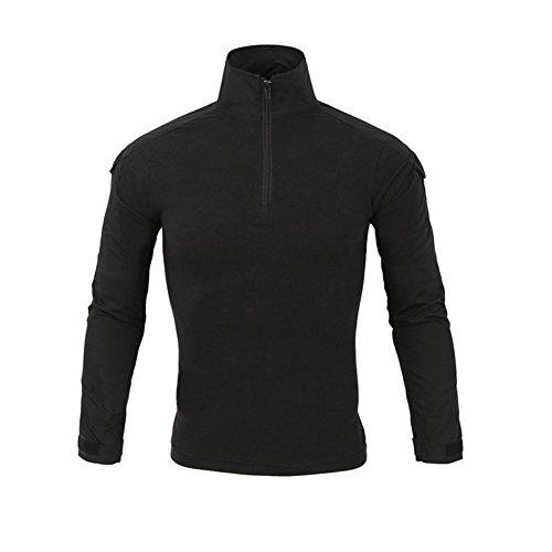 LANBAOSI Chemise de Combat Militaire Homme Airsoft Shirt Tenue Camouflage Uniforme Tactique Séchage Rapide à Manches imperméables Noir Small
