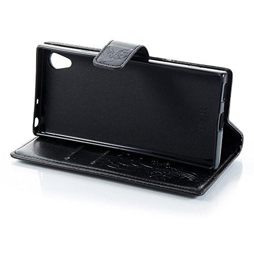 EKINHUI Case Cover Horizontale Folio Flip Stand Muster PU Leder Geldbörse Tasche Tasche mit geprägten Blumen & Lanyard & Card Slots für Sony Xperia XA 2017 ( Color : Blue ) Black