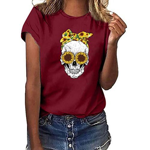 VECDY Damen T Shirts Mode Tops Sommer Plus Size Print Schädel Kurzarm Multicolor Lose T-Shirt Bluse Mode Pullover Solid Color Tees - Pailletten Multi Color Print-rock