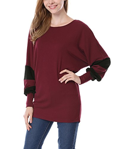 Allegra K Damen Farbe Block Fledermaus-Ärmel lose Tunika Oberteil Top, Burgundy/M (EU 40) (Scoop Top Tunika)