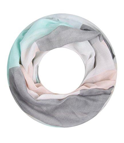 Majea NEUE Kollektion Damen Loop Schal viele Farben Muster Schlauchschal Halstuch in aktuellen Trendfarben (hellblau 27)