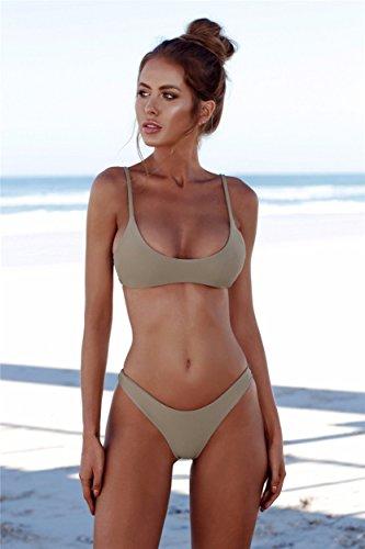 71e2dc6a52 2018 Womens Sexy Solid Color Brazilian Bikini Set- Triangle Thong ...