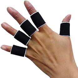 Bandas dedo entablillado Deportes Guardia vendaje Seguridad Soporte del abrigo de Baloncesto Voleibol dedo manga Puesto Caps Protector Negro
